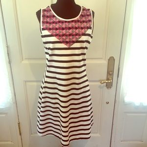 Hatley striped dress with embroidered Geo detail